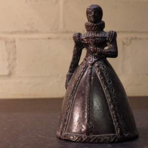 Elizabeth I Novelty Antique Bronze Brass Table Bell with Clapper Legs