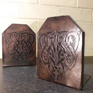 Celtic Dragon Vintage Pair of Leather Faced Bookends