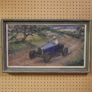Bugatti Racing Car 20th Century Framed Middleton Signed Oil on Canvas Painting