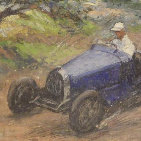 Bugatti Racing Car 20th Century Framed Middleton Signed Oil on Canvas Painting image-4