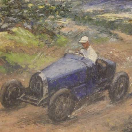 Bugatti Racing Car 20th Century Framed Middleton Signed Oil on Canvas Painting image-2
