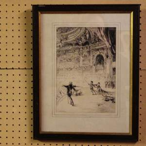 Theatre Scene 19th Century Framed J.A Mitchell Signed Pen and Ink Drawing