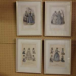Antique Set of Four 19th Century Framed French Fashion Prints