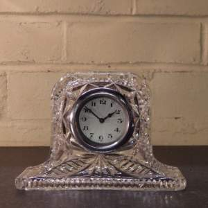 1930s Vintage Clear Pressed Glass Mantel Clock