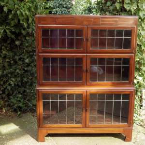 Art Deco 1920s Minty Mahogany Barrister Stacking Sectional Bookcase