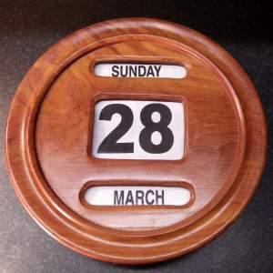 Vintage Early 20th Century Walnut Perpetual Wall Calendar