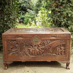 Antique Early 20th Century Chinese Oriental Large Carved Camphor Wood Chest