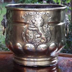 Victorian 19th Century Antique Decorative Brass Log Bin or Jardiniere
