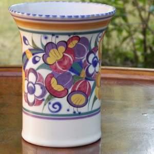 Poole Pottery 1930s Art Deco Fuschia Pattern Vase
