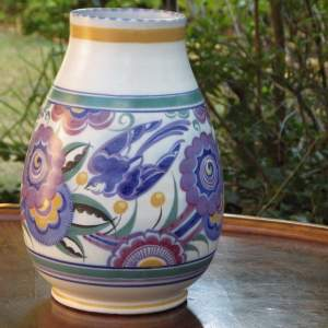 Poole Pottery 1930s Art Deco Bluebird Pattern Large Vase