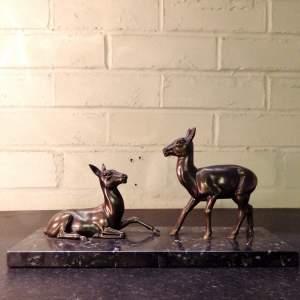 Art Deco 1930s Spelter Deer Group Marble Base