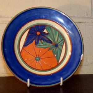 Clarice Cliff Umbrellas 1930s Hand Painted Fantasque Plate