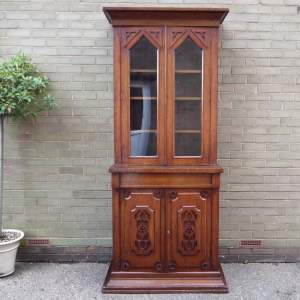 Gothic Revival 19th Century Tall Oak Library Bookcase