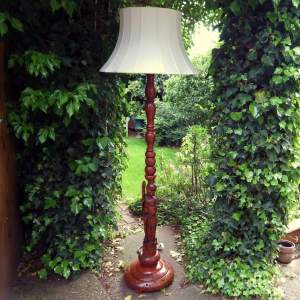 Decorative Hand Carved Hardwood Standard Lamp with Shade