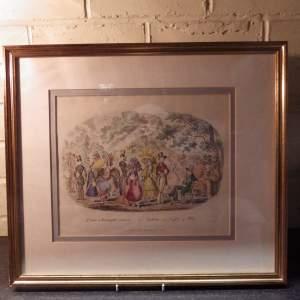 Antique Early 19th Century Fashion Print 1829 Scene in Kensington Gardens