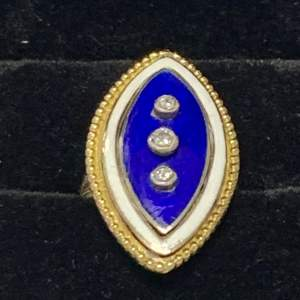 18ct Gold Enamel and Diamond Ring