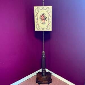 Victorian Mahogany Fire Pole Screen