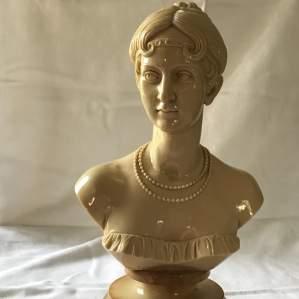 Cream Resin Bust of Josephine de Beauharnais 1st Wife of Napolean