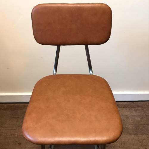 Vintage Tan Leather Bar Stool image-2