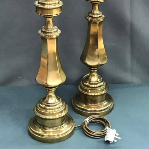 Pair of 20th Century Tall Brass Table Lamps image-2
