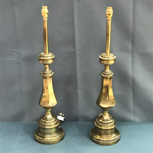 Pair of 20th Century Tall Brass Table Lamps image-1