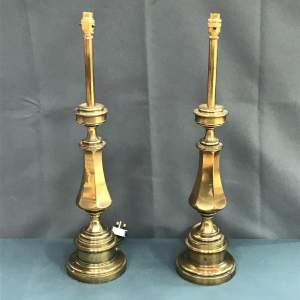 Pair of 20th Century Tall Brass Table Lamps