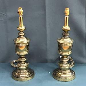 Pair of 20th Century Brass Lamps