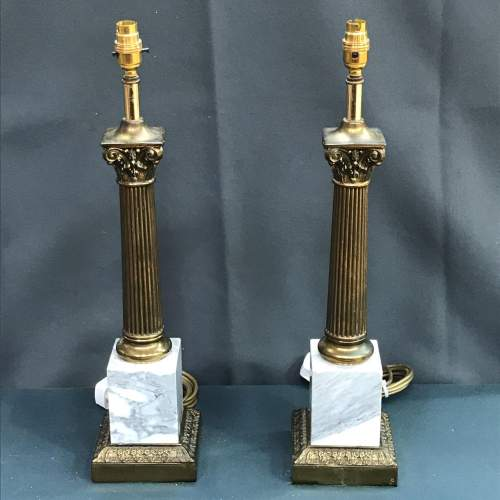 Pair of 20th Century Brass and Marble Table Lamps image-1