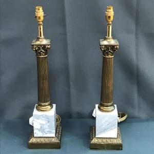 Pair of 20th Century Brass and Marble Table Lamps