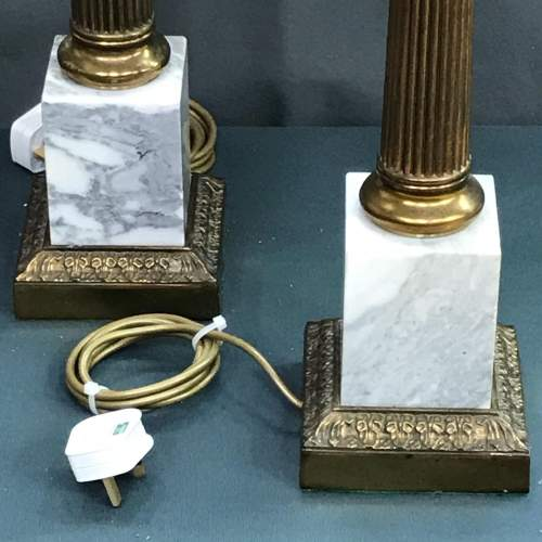 Pair of 20th Century Brass and Marble Table Lamps image-2