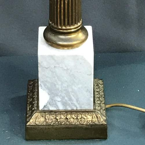 Pair of 20th Century Brass and Marble Table Lamps image-3