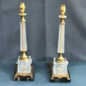 Pair of 20th Century Square Glass and Brass Lamps