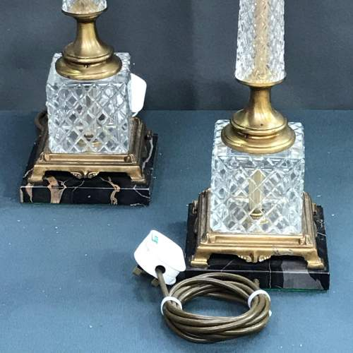 Pair of 20th Century Square Glass and Brass Lamps image-2
