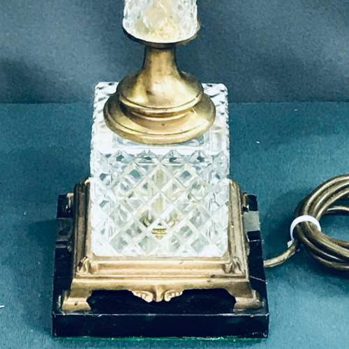 Pair of 20th Century Square Glass and Brass Lamps image-3