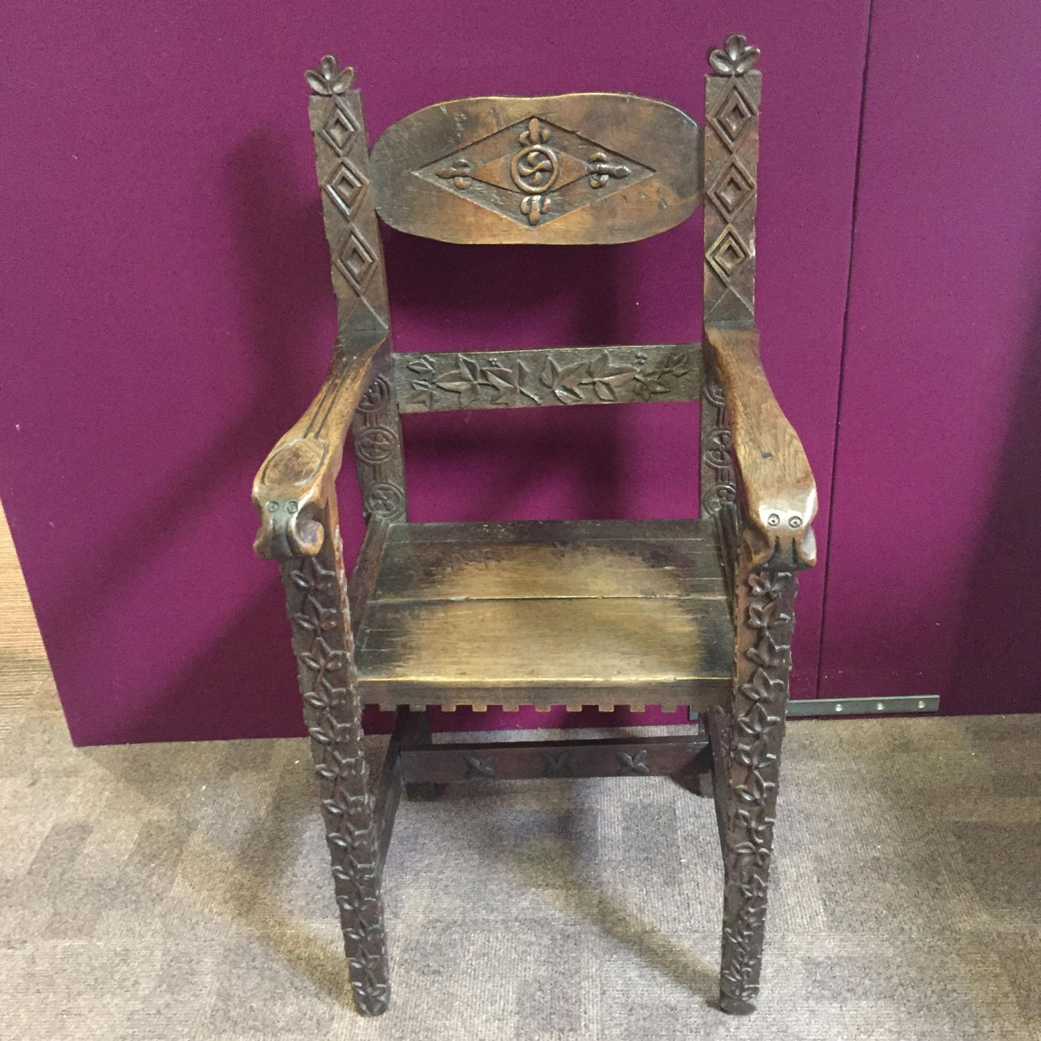 Victorian Oak Carved Wainscot Chair