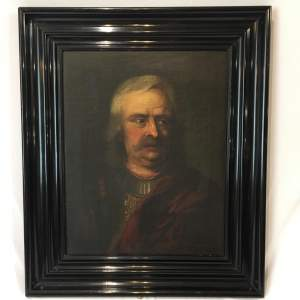 Russian School 18th Century Oil Painting Portrait of a Soldier