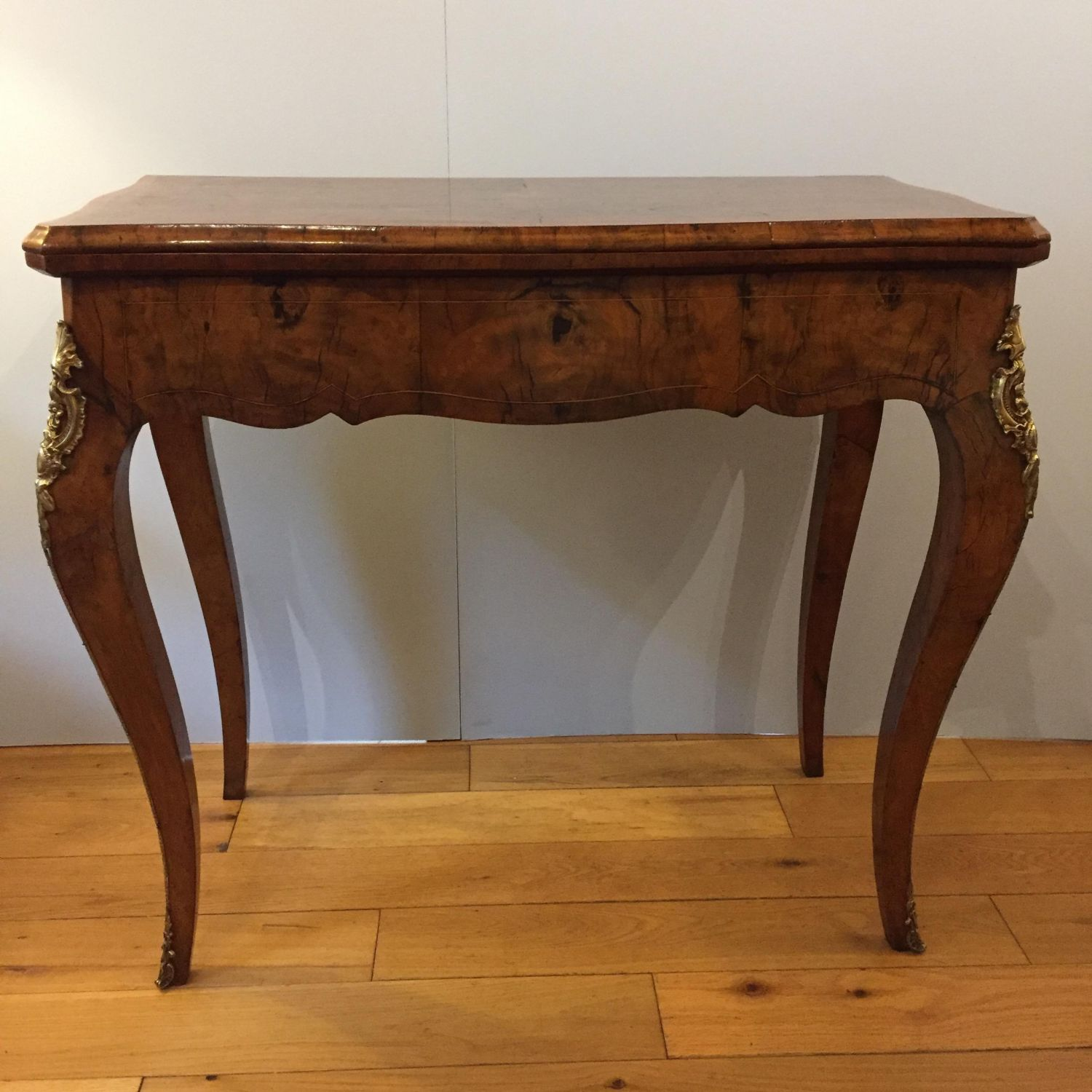 French Walnut Fold Over Card Table