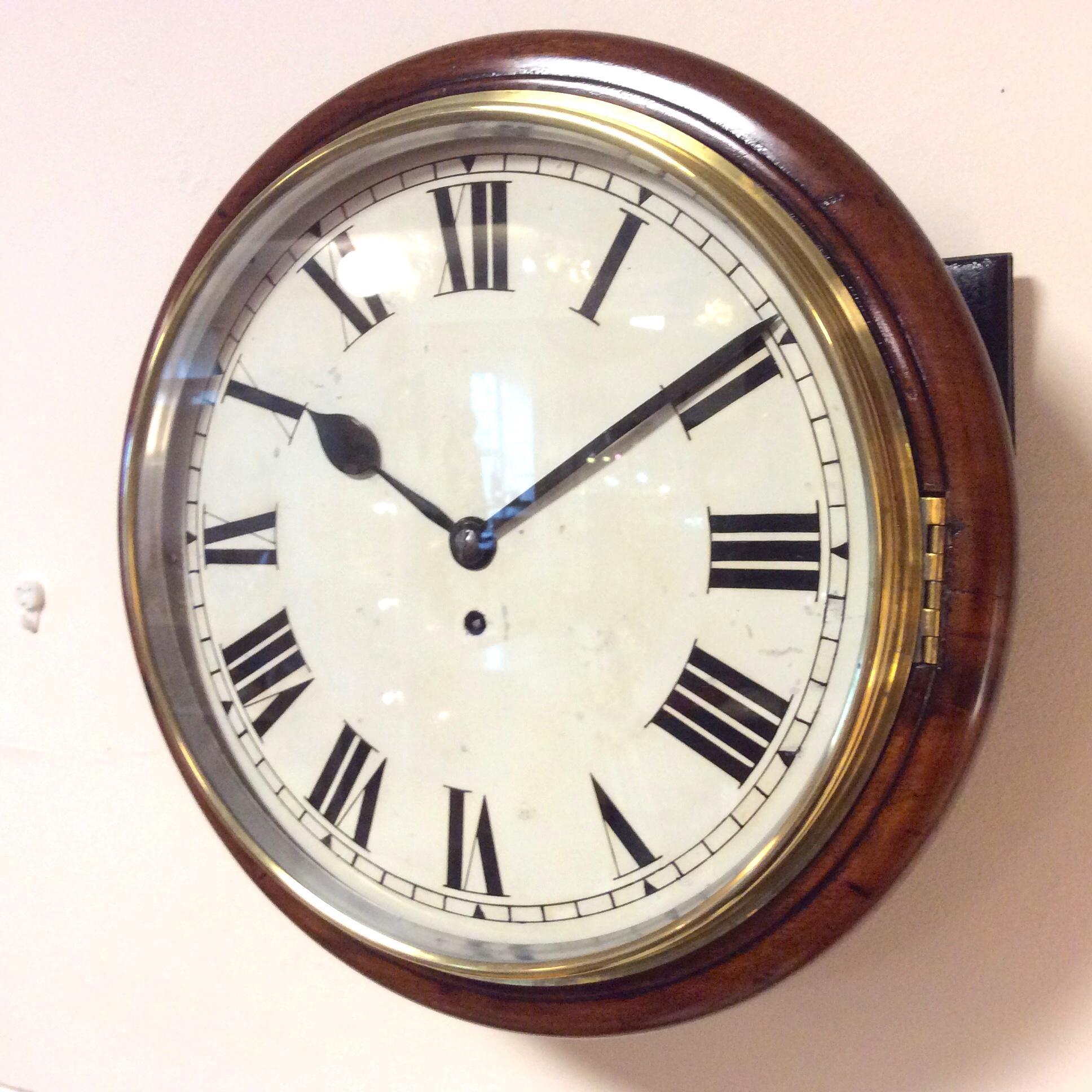 Late Victorian 8 Day English Single Fusee Wall Clock