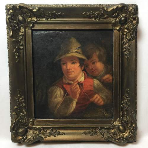 19th Century Dutch School Oil Painting Depicting of Two Boys Fishing image-1
