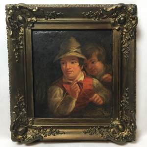 19th Century Dutch School Oil Painting Depicting of Two Boys Fishing