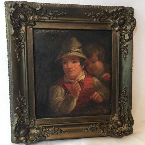 19th Century Dutch School Oil Painting Depicting of Two Boys Fishing image-2