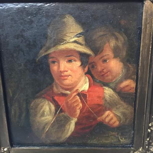 19th Century Dutch School Oil Painting Depicting of Two Boys Fishing image-3