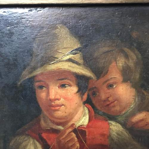19th Century Dutch School Oil Painting Depicting of Two Boys Fishing image-5
