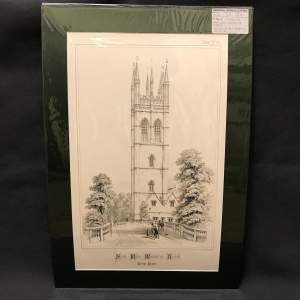 Mounted Engraving of a College Chapel in Oxford