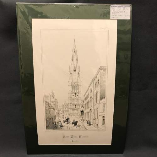 Mounted Engraving of St.Marys Church Stamford by Charles Wickes image-1