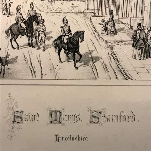 Mounted Engraving of St.Marys Church Stamford by Charles Wickes image-2