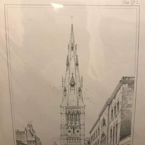 Mounted Engraving of St.Marys Church Stamford by Charles Wickes image-3
