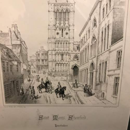 Mounted Engraving of St.Marys Church Stamford by Charles Wickes image-4