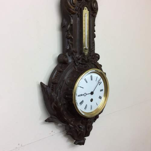 1875 Timepiece, Barometer & Thermometer in a Cast Iron Case image-2