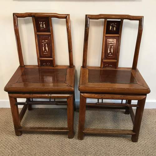 A Pair Of Qing Dynasty Chinese Hardwood Chairs image-1
